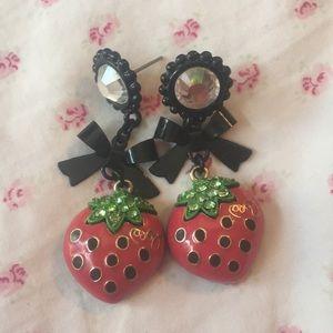 Betsey Johnson strawberry earrings